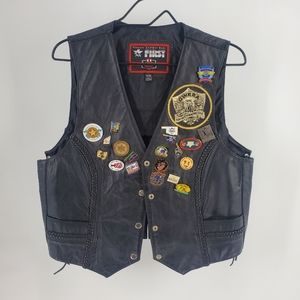 GWRRA Leather motorcycle Vest with pins XXL